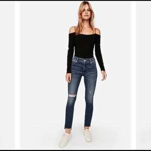 Express High-Waisted Side Stripe Ankle Jeans Sz 4
